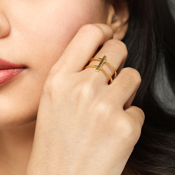 Gold Bar double ring for women, Jewelry for girlfriend, minimalist jewellery, real gold jewelry