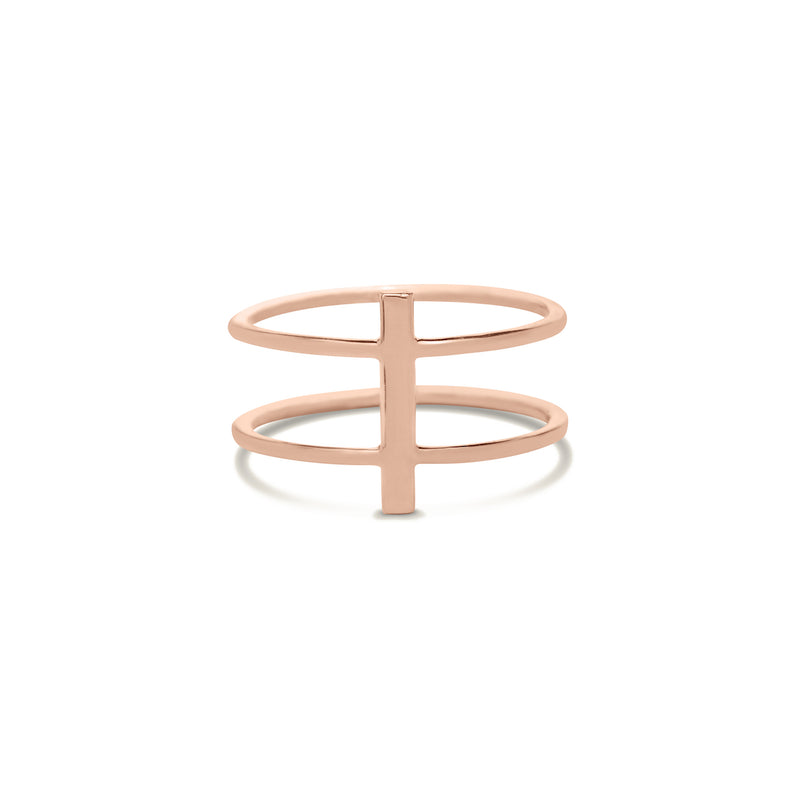 Gold bar double ring for women In rose gold colour