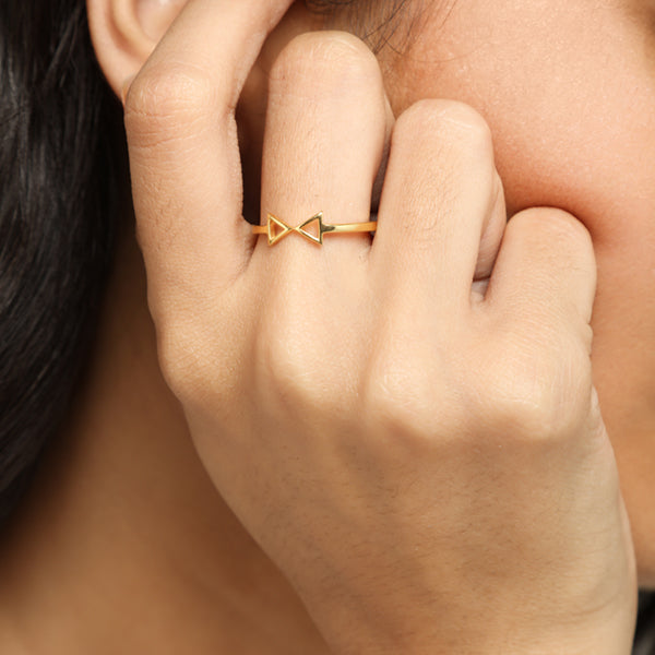 Gold bow ring for women, Jewelry for girlfriend, minimalist jewellery, real gold jewelry