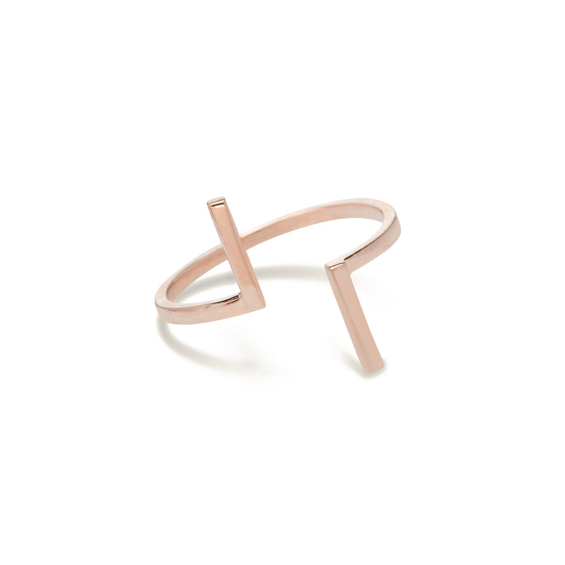 gold bar ring for women in rose gold colour