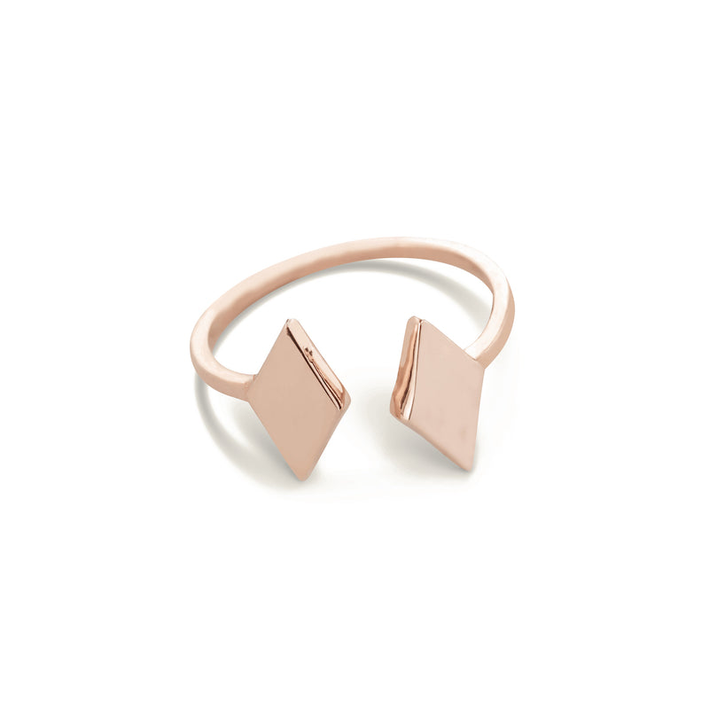 gold rhombus ring for women in rose gold colour