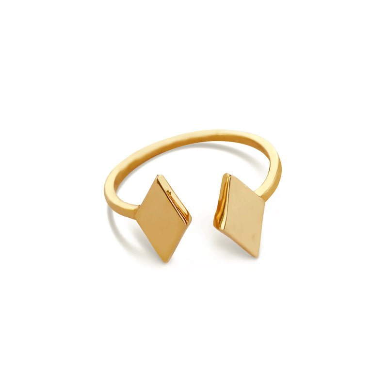 Rhombus Duet Ring for women, Jewelry for girlfriend, minimalist jewellery, real gold jewelry, gold ring