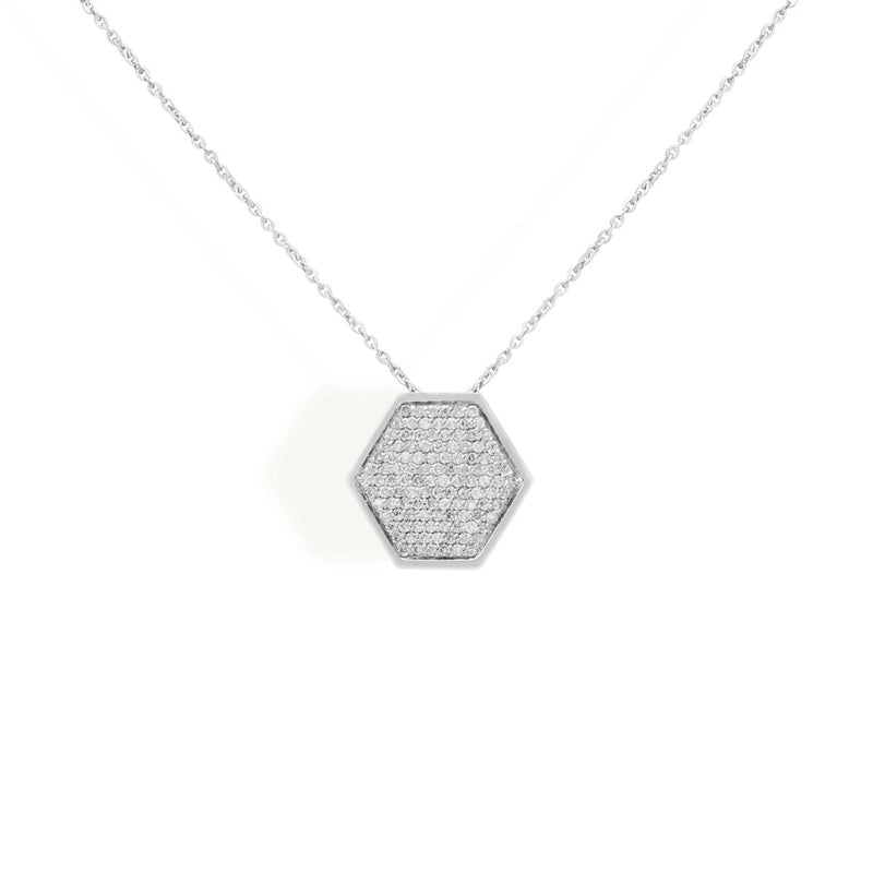 diamond hexa necklace for women, jewellery for girlfriend, minimalist jewellery, white gold jewellery