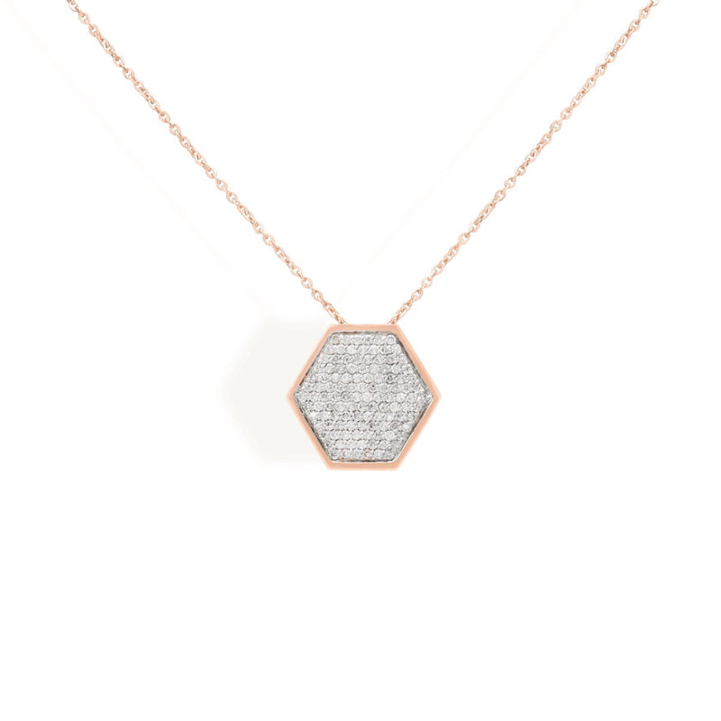 diamond hexa necklace for women in rose gold colour