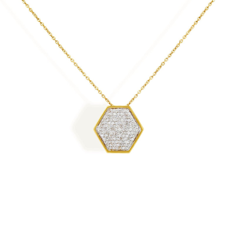 diamond hexa necklace for women, jewellery for girlfriend, minimalist jewellery