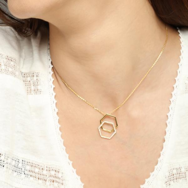 Di-Hexa diamond necklace for women, Jewelry for girlfriend, minimalist jewellery, real gold jewelry, gold chain with pendants, gold pendant for women