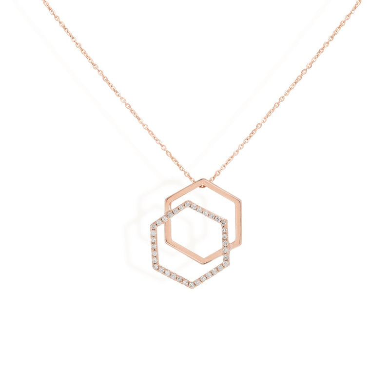 diamond necklace for women in rose gold colour