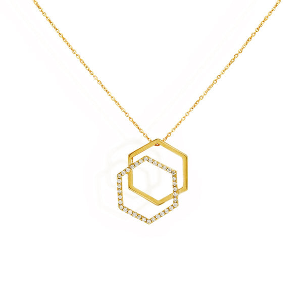Di-Hexa diamond necklace for women, Jewelry for girlfriend, minimalist jewellery, real gold jewelry,