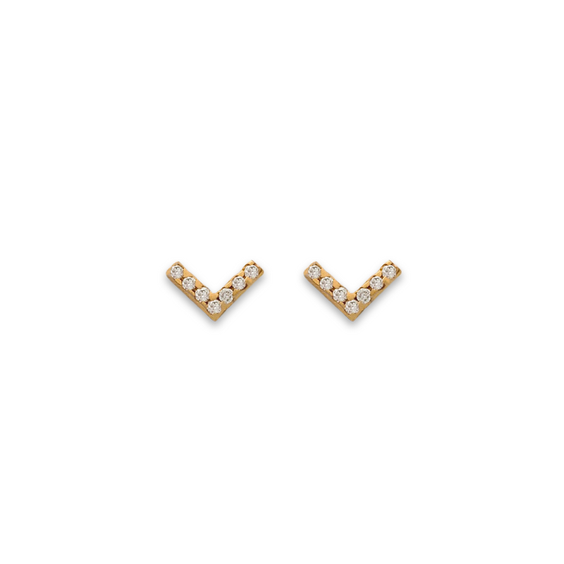 Chevron studs, Gold studs for women, earrings