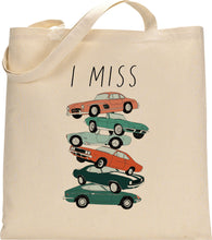 Load image into Gallery viewer, I MISS VINTAGE CARS tote bag