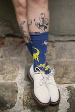 Load image into Gallery viewer, I MISS DINOSAURS socks - new dark blue