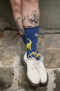 I MISS DINOSAURS socks - new dark blue