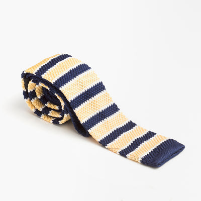 Blue and Yellow Striped Wool Knit Tie