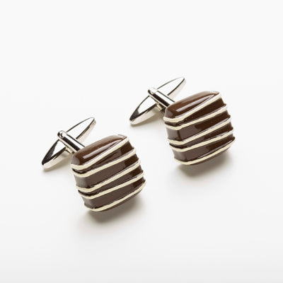 Mens Accessories Brown and White Chocolate Truffle Cufflinks