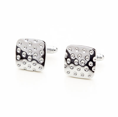 Square Silver Tone Studded Cufflinks