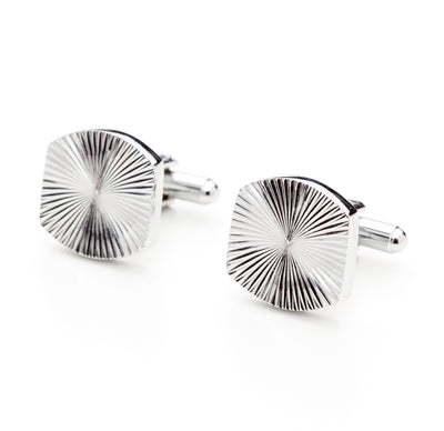 Silver Tone Shell Textured Cufflinks