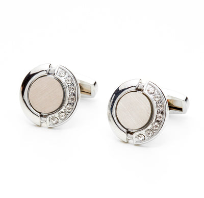 Silver Tone Semi Studded Imprint Cufflinks