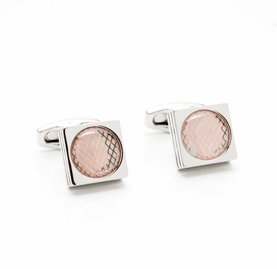 Square Silver Tone Meshed Oval Inlay Cufflinks