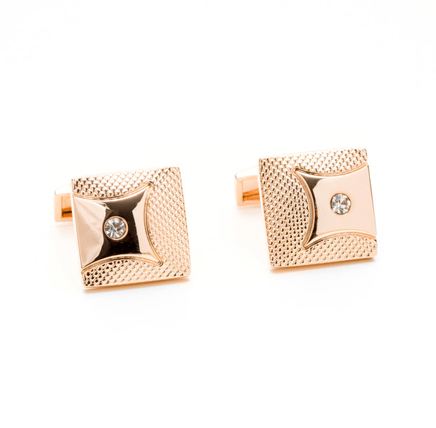 Rose Gold Tone Square Pave Gem Detailed Cufflinks