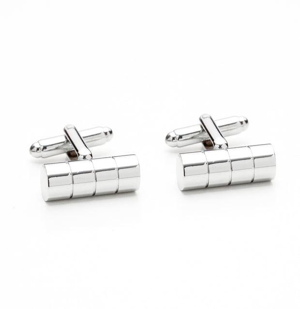 Silver Tone Barrel Cufflinks