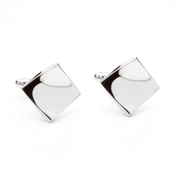 Silver Tone Curved Edge Square Cufflinks
