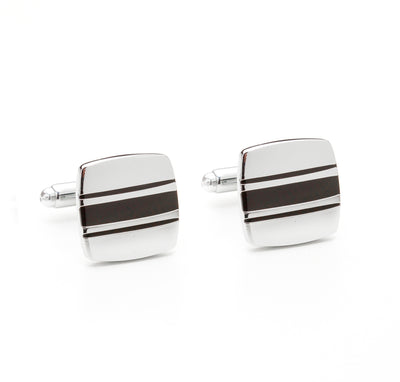 Silver Tone Black Racing Stripes Cufflinks