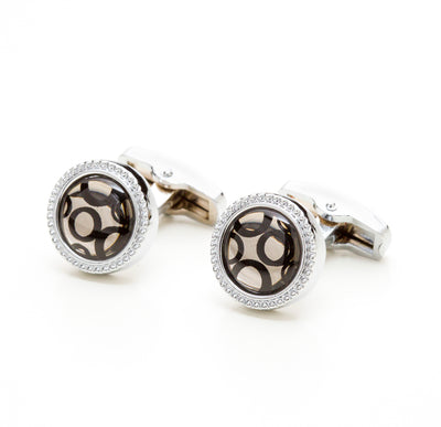 Round Silver Tone Gem & Bubble Cufflinks