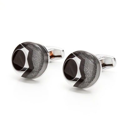 Silver Tone & Gray Bubbled Bolt Cufflinks