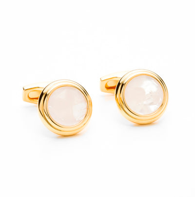 Textured Gold Tone Pink Gem Inlay Cufflink