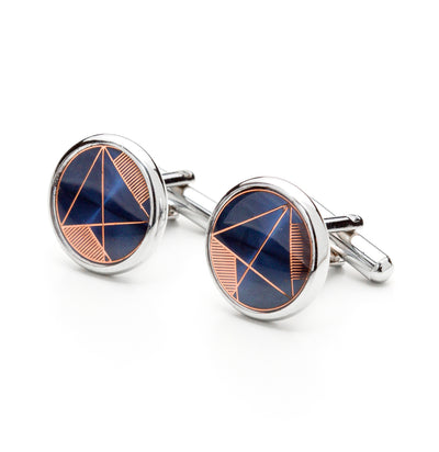 Round Silver Tone Blue & Bronze Geometric Inlay Cufflinks