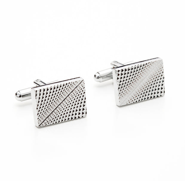 Rectangular Silver Tone Optical Illusion Cufflinks