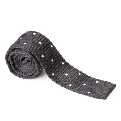 Black with White Polka Dots Knit Tie