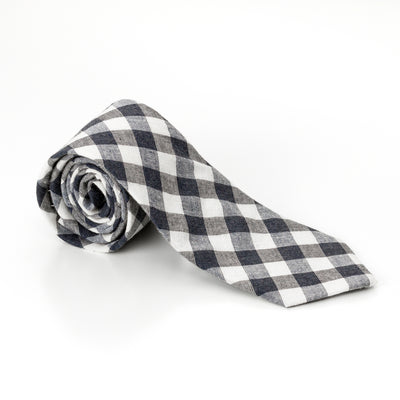Black And white Gingham Skinny Tie