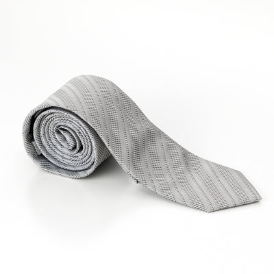 Silver Barcode Stripped Skinny Tie