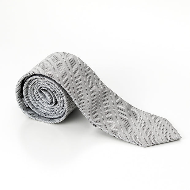 Silver Barcode Stripped Tie