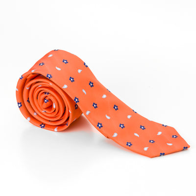 Orange Flower and Paisley Tie