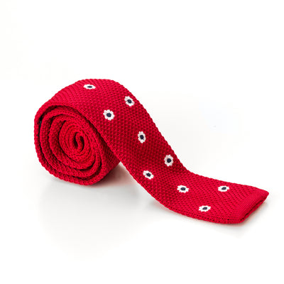 Flat Tipped Red and White Polka Dot Knit Tir