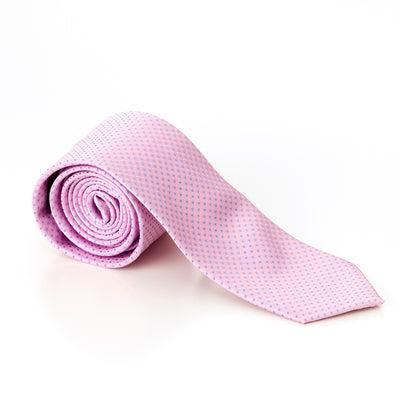 Pink With Blue Pin Dots Skinny Tie