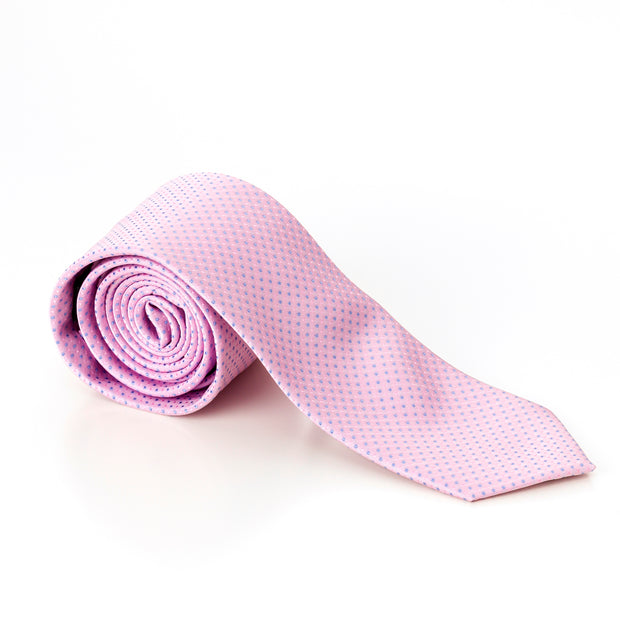 Pink With Blue Pin Dots Tie