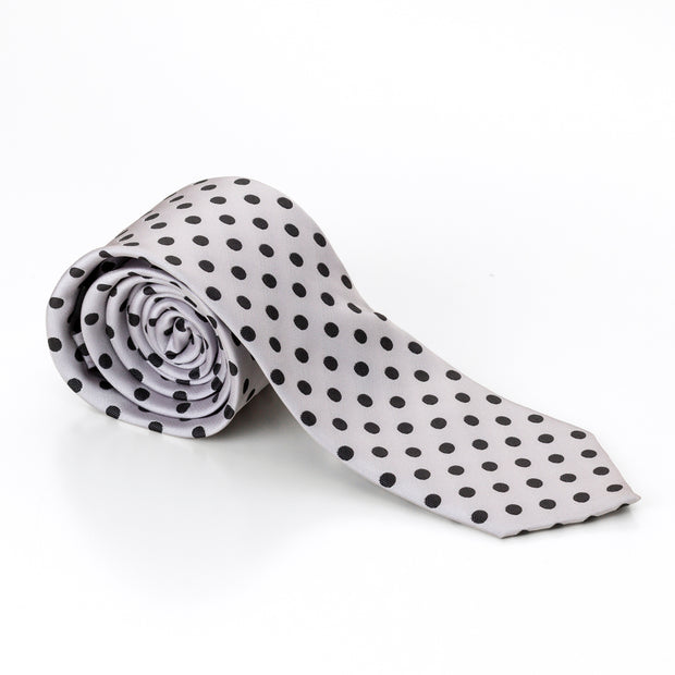 Grey with Black Polka Dots Tie