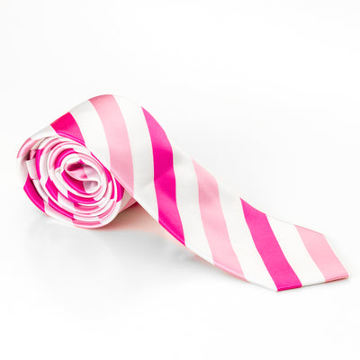 Pink & White Diagonal Stripes Tie