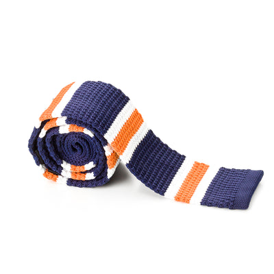 Orange and White Striped Blue Knit Tie