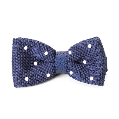 Knit Blue & White Polk Dot Bow Tie