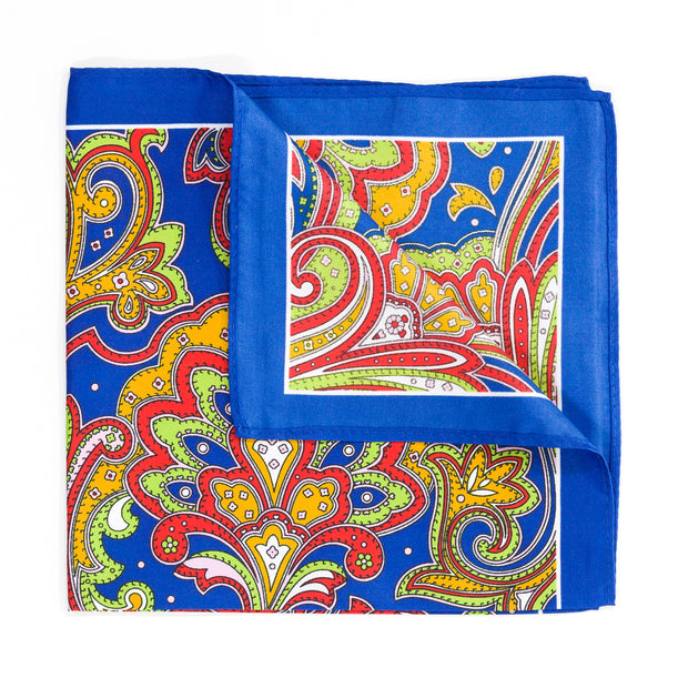 Blue Paisley Pocket Square