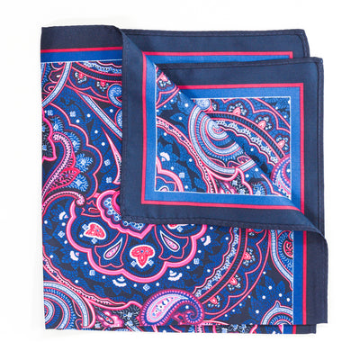Black & Blue Paisley Pocket Square