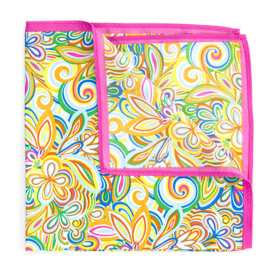 Bright Floral Swirl Pink Pocket Square