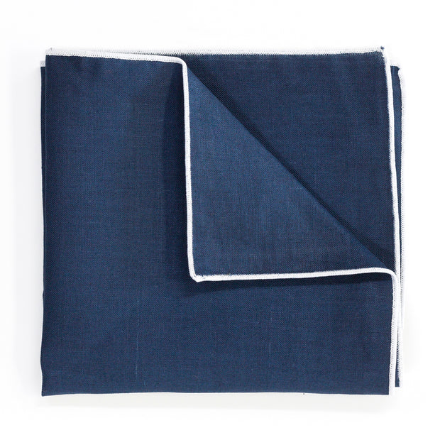 Blue with White Edge Pocket Square