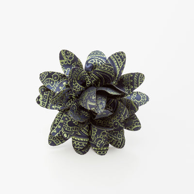 Grey and Yellow Ruffled Flower Lapel Pin