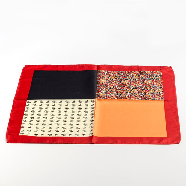 Multi Red Orange Pocket Square