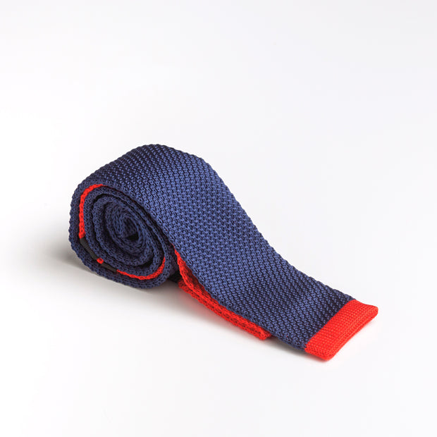 Navy Wool Knit Tie With Flat Red Tip and Finishes